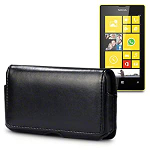 NOKIA LUMIA 520 SOFT PU LEATHER HORIZONTAL CASE BY CELLAPOD CASES BLACK