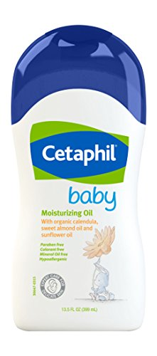Cetaphil Baby Moisturizing Oil with Organic Calendula, Sweet Almond Oil & Sunflower Oil, 13.5 Ounce