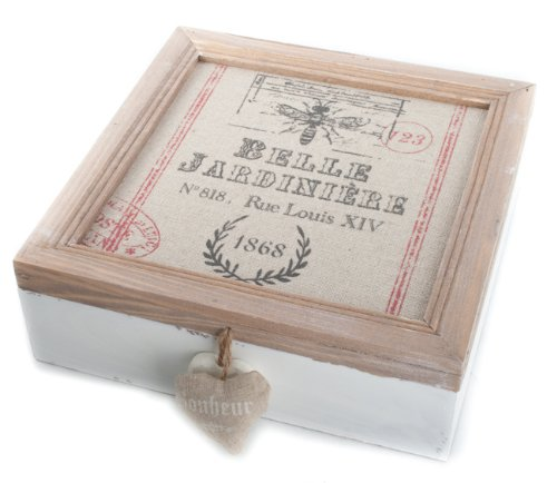 Shabby Chic French Country Wooden Linen Print Lid Box Belle Jardiniere