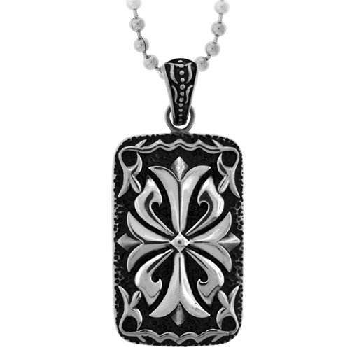 Inox Jewelry Floriated Cross Tablet Pendant Necklace