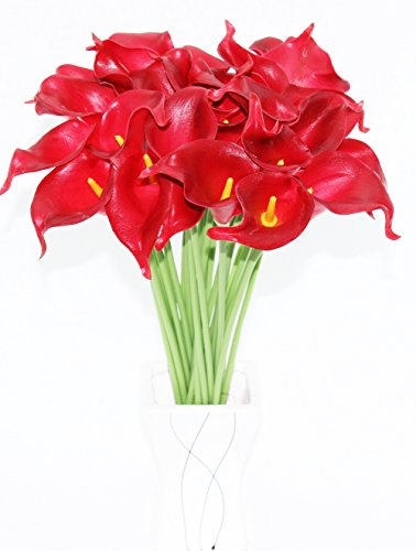 Simpleyourstyle Calla Lily Artificial Flower 10pcs No Vase Bridal Wedding Bouquet 10 Head Latex Real Touch Flower Bouquets (Red)