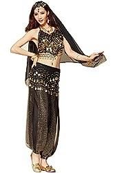 Pilot-trade Women's Belly Dance Costume Beads Bells Top Harem Pants Hip Scarf Belt