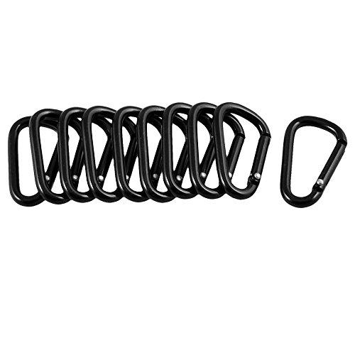 SODIALR-10-Pcs-Noir-D-Forme-Crochet-en-Alliage-dAluminium-Mousqueton-Porte-cles