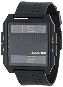 Vestal Unisex DIG008 Digichord All Black PU Digital Watch