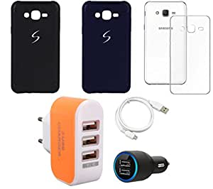 NIROSHA Cover Case Car Charger USB Cable Charger for Samsung Galaxy ON5 - Combo