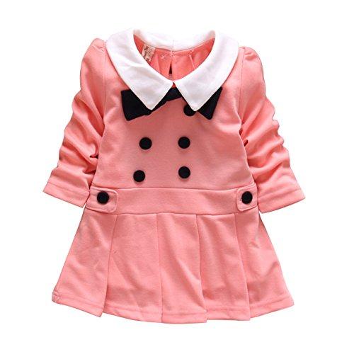 Little Hand Baby Girls' Bowknot Button Peter Pan Collar Long Sleeve Dress front-1049217