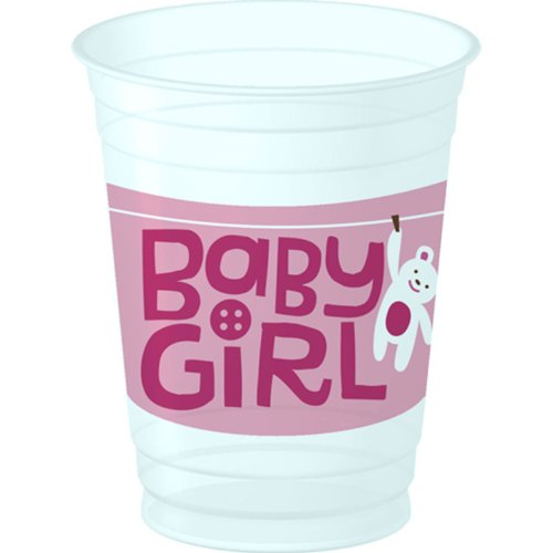 Cute As A Button 14 Ounce Girl Plastic Cups (8) [Toy] front-1039734