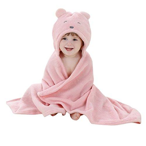HappyCherry Baby Cute Bear Flannel Blanket Furry Hoodie Bath Robe Pink