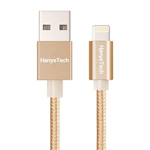 iPhone6 6Plus USBライトニングケーブルiOS8.4対応 アルミ合金コンパクト端子iPad Air2 mini3 iPhone5S 5C充電Lightningコネクタ 金属シェル&編み (ゴールド)