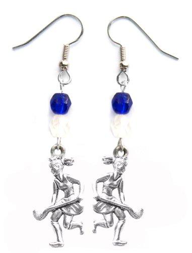 """Field Hockey Girl"" Field Hockey Earrings (Team Colors Royal Blue & White)"