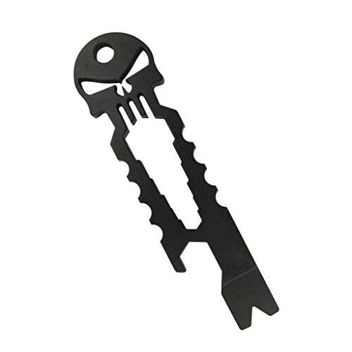 Y-EDC Skull Keychain Self Defense Emergency Survival Tool with Wrench+screwdriver+bottle Opener (Black)