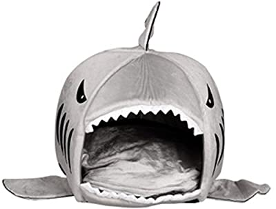 KiKi Monkey Removable soft Cushion Grey Shark Bed for Small Cat Dog Cave Bed Big shake,creative pet beds waterproof Bottom Most Lovely Pet House Gift for Pet