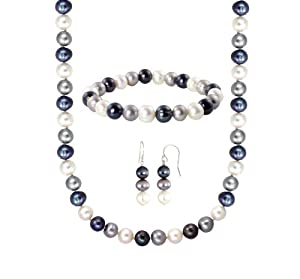 Black, Grey and White Freshwater Cultured Pearl 3 Piece Jewelry Set (8-8.5mm)