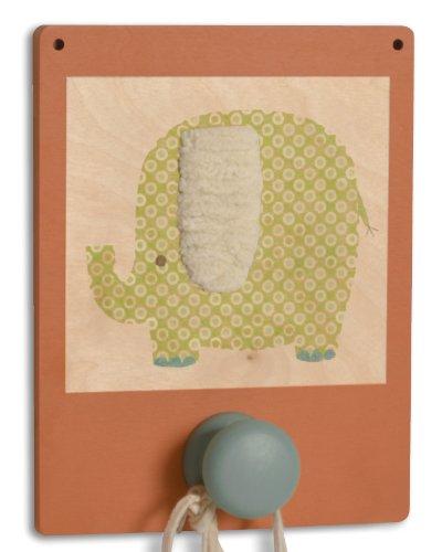 Tree by Kerri Lee Wuzzy Wall Hook Elephant, Orange/Green