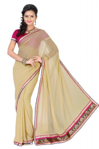 De Marca Women Beige Faux Georgette Casual Saree (beige\/sand\/tan)