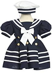 Fougerkids Navy Baby Girl Formal Sailor Party Dress Size L