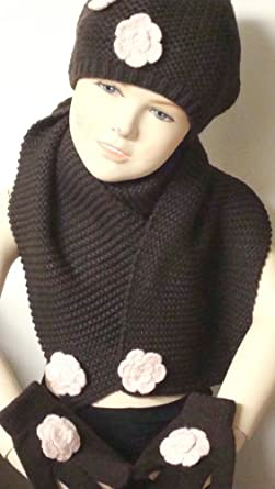 Hand Crocheted Dark Brown Acrylic Eighty Two By Eight Inches Scarf Hat Set for Children with Pink Rosettes