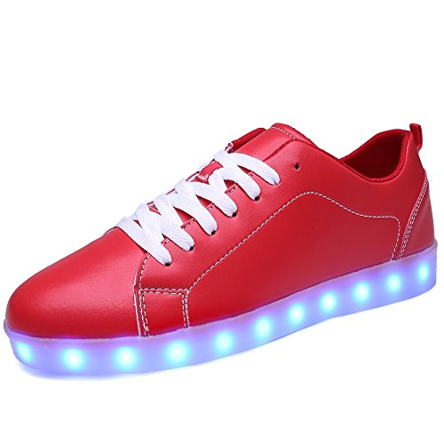 Ryanmay Shiny Night LED Light Up Shoes USB Charging Flashing Sneakers For Mens Womens Boys Girls,A1099,Red,39