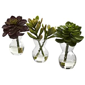 Nearly Natural 4954-S3 Succulent Arrangements, Green, Set of 3