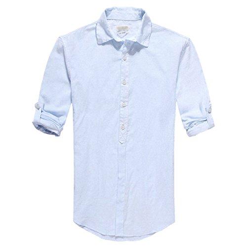 Zbrandy Men's Cotton Linen Blend Shirts Ultra Light Colorful Shirts Colour Blue Size L (Light Blue Linen Shirt compare prices)