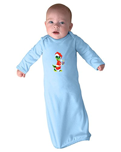 [Dinosaur In Santa Suite Infant Baby Rib Layette Sleeping Gown Light Blue Gown Only] (Santa Suites)