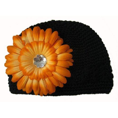 Black Halloween Baby Kufi Beanie Skull Cap Hat With Orange Flowe front-875586