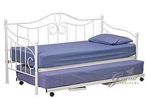 lisbonne m tal day lit gigogne et 2 matelas blanc style victorien simple pour invit s cadre de. Black Bedroom Furniture Sets. Home Design Ideas