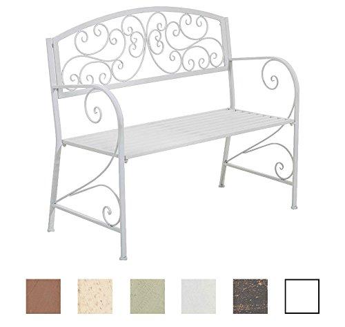 CLP-Gartenbank-AZAD-im-Landhausstil-aus-lackiertem-Eisen-108-x-51-cm-aus-bis-zu-6-Farben-whlen-wei