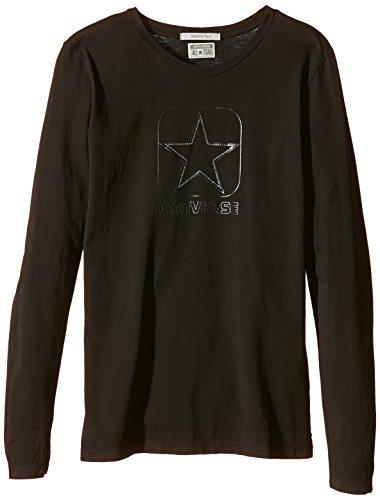 Converse - Maglia T-Shirt Ml Logo Ld Diamond, Donna, Black (Nero), L (44)