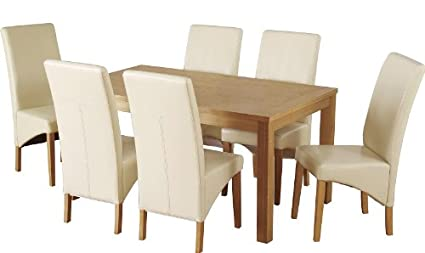 Belgravia Dining Set Natural Oak Veneer 6 Cream Padded Faux Leather Chairs