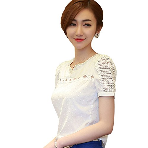 Tonsee Women Girl's Elegant V Neck Chiffon Shirt Hollow Short Sleeve Casual Blouse