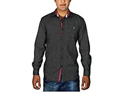 China Collection Men's Casual Shirt(CC03L_Black_Large)