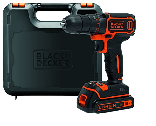 BLACK+DECKER BDCDC18K-QW Trapano/Avvitatore 18V Litio, 1.5Ah, in Valigetta