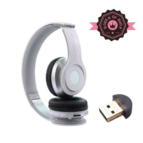 B2 White High Quality Foldable Wireless Bluetooth Stereo Headset Headphones Mic For Iphone Samsung Htc ( White )