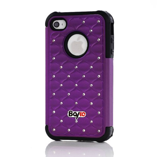 Bayke Brand Apple iPhone 4 4S PC + Silicone Impact Hybrid Bumper Defender Case Luxurious Lattice Dazzling Bling Shining Star Diamond Rhinestone Rubber Skin Hard Protector Cover Case (Purple and Black Silicone) at Amazon.com