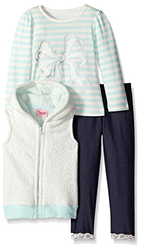 887847674522 - Nannette Little Girls' 3 Piece Vest and Bow Printed Shirt Legging Set, Off White, 6X carousel main 0