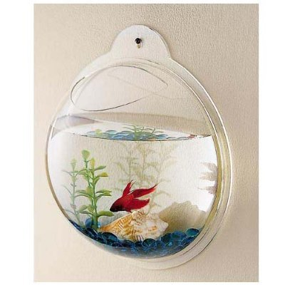 Wall Mount Hanging Beta Fish Bubble Aquarium Tank