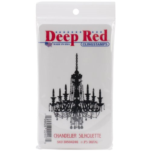 Deep Red Stamps Chandelier Silhouette Rubber Stamp - 1