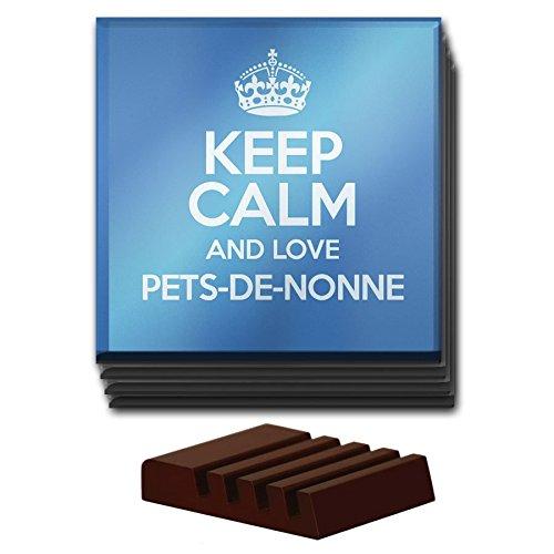 Lot de 4Bleu Keep Calm and Love Pets-de-Nonne Dessous de Verre en verre couleur 2795
