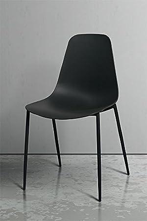 MY-Furniture – Conjunto de 2 Sillas de comedor Dino, negro
