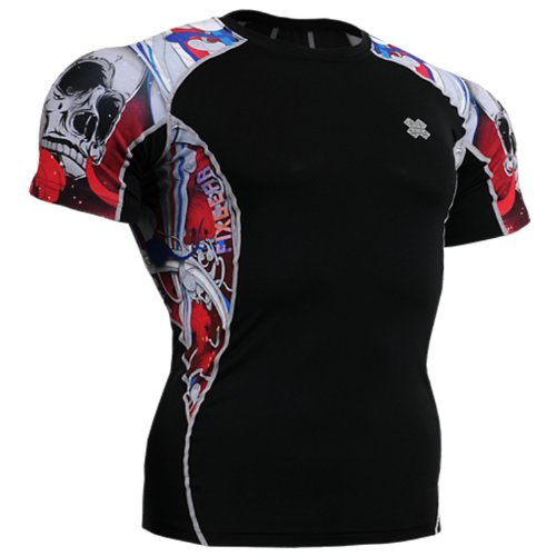 Fixgear Mens Womens Skull Print Compression Base Layer Running Short Sleeve S ~ 2XL
