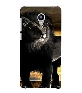 PrintVisa Black Lion Animal Design 3D Hard Polycarbonate Designer Back Case Cover for Meizu MX5