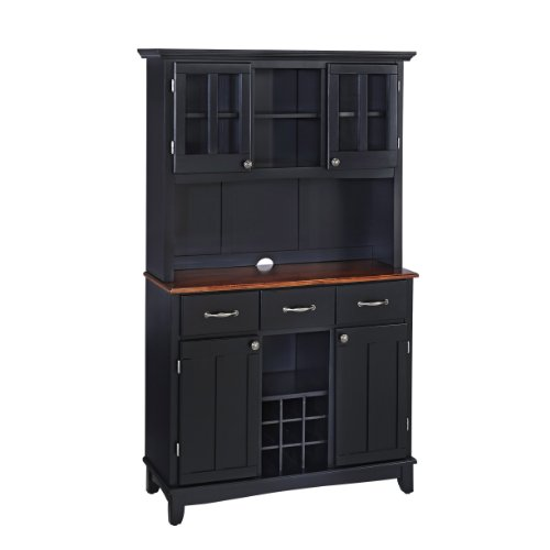 Home Styles 5100-0042-42 Buffet of Buffets Medium Cherry Wood Top Buffet with Hutch, Black Finish, 41-3/4-Inch (Cabinet And Hutch compare prices)