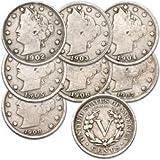 U.S. Liberty Head (Barber) Nickels - 7 Coin Grab Bag (Tamaño: 21 mm Diameter)