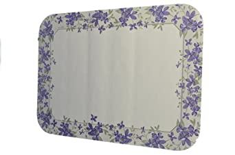 "Dinex DX5329M Paper Orchid Borders Tray Cover with Straight Edge/Round Corner, 18-3/4"" Length x 13-5/8"" Width, Size M (Case of 1000)"