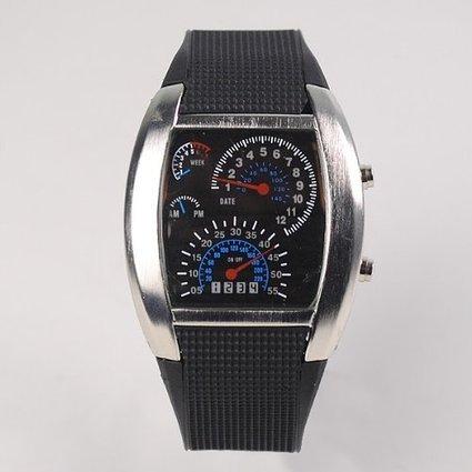 Niceshop® Cool Car Meter Dial Unisex Blue Flash Dot Matrix Led Racing Watch Write(Black)