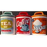 Retro Set 0f 3 Classic 50's/60's Style Tea, Coffee & Sugar Canisters /Jars
