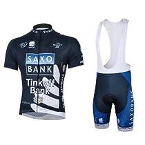 Cgecko 2013 Saxo Bank Short Sleeve Bicycle Cycling Jersey & Bib Shorts Set Coolmax Padding for Summer jersey
