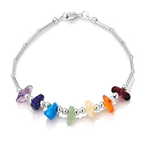925 Sterling Silver Seven Chakra Balancing Natural Gemstones Amethyst Garnet Peridot Citrine Carnelian Lolite Apatite Stone Bracelet 7.5'' Spiritual Jewelry for Women, Teens - Nickel Free by Chuvora