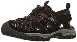 Northside Burke II Ankle-Strap Sandal (Toddler/Little Kid/Big Kid), Black/Red, 1 M US Little Kid